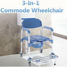 3 in 1 Commode Wheelchair Rolling Mobile Bedside Toilet Shower Chair Seat AU ☆❤
