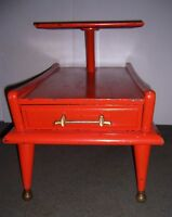 Vintage Mid Century Modern Step 2 Tier Wooden Side End Table with Drawer
