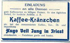 Hugo Veit Jung Triest Kaffee- Kränzchen Einladung an alle Damen... Annonce 1909