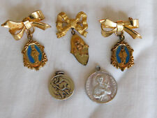 Old Catholic Medals Sterling Silver St. Christopher Protect Us, St. Gerard, Pins