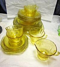 Yellow Depression Glass 4-Place Luncheon Setting Madrid Pattern w/Cream & Sugar