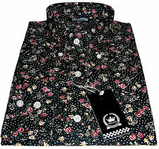 Relco Floral Shirt - Flrl-13 - Black - 60s Button Down Collar Mod Skin 3xl