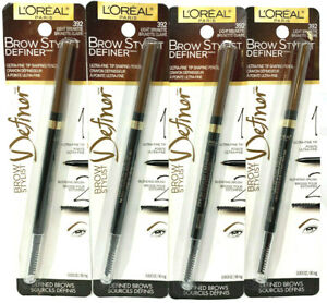 (4) Loreal Brow Stylist Definer Tip Shaping Pencil Sealed 392 - Light Brunette