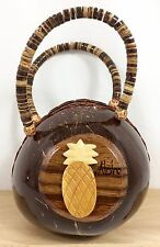 Vtg Hawaiian Zip Coconut Shell Purse Hawaii Aloha 3D Pineapple Handbag w Handles