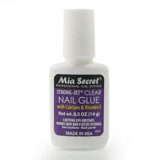 Mia Secret Strong Jet Clear Nail Glue New 0.5 oz w/ Calcium & Vitamin E USA Made