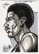 2014 Leaf Best of Basketball JULIUS ERVING Sketch 1/1 Brian Kong 76ers HOF Dr. J