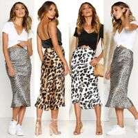 Women Leopard Print High Waist Midi Skirt Bodycon Party Cocktail Clubwear Dress
