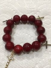 Bracelet Lucky Red Glass Beads 4Cross 1Crystal 14mm Jesus Bless U All New