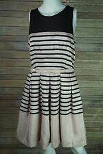 Taylor Women's Cocktail Dress Pleated Pink/Black Striped Size 10