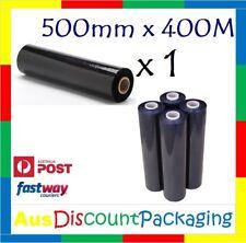"1x Hand Stretch Film Pallet Wrap 500mm x 400m Meter Shrink Wrapping Black 25U 2"""