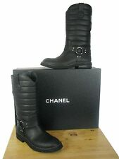NIB CHANEL Black Quilted Star Harness Motorcycle Biker Boots 37.5 $1750