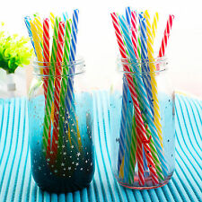 10Pcs Hard Plastic Stripe drinking Straws colorful weeding straws Reusable