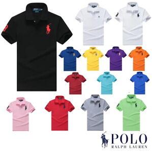 Polo Ralph Lauren Men Shirt Custom Fit Short Sleeve Big & Small Pony Polo Shirt
