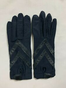 Vintage Aris Isotoner Stretch Leather Padded Driving Gloves One Size - Black