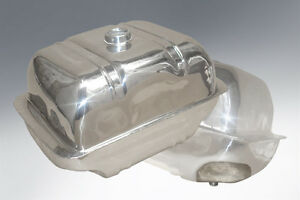 LAMBRETTA 13 L PETROL FUEL TANK IN STAINLESS & STRAPS FREE UPS DELIVERY
