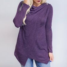 Women's Cotton Long Sleeve Asymmetrical Loose Blouse Shirt Drape Tops Pullover