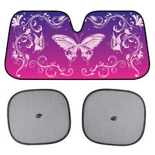 BDK Swirl Butterfly Sunshade for Car Windshield Purple Autoshade Foldable Visor