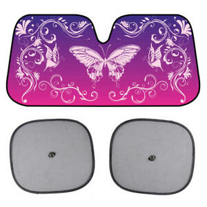 BDK Swirl Butterfly Sunshade for Car Windshield Purple Autoshade Foldable Visor