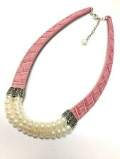 New Honor Style Wht Pearl PINK Leather 925 STERLING SILVER Necklace K43229-Pink
