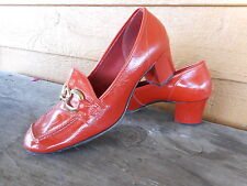 Vintage 1970s Mod Red Patent Shoes Chunky Heels estimating size 6.5 used scuffed