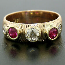 Vintage 14K Rose Gold 1.15ctw Bezel Set European Cut Diamond & Ruby Ring Band