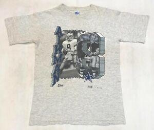 Vintage Salem 1991 NFL Troy Aikman Dallas Cowboys T-Shirt Gray L Tee USA