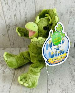"NWT Build A Bear Dino Baby Green Triceratops Dinosaur Mini 7"" Plush Stuffed BAB"