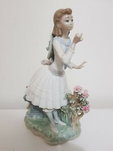 Lladro Figurine Girl With Flowers And Books Retired Rare