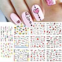 Nail Art Water Decals Stickers Transfers VALENTINES Day Red Love Hearts