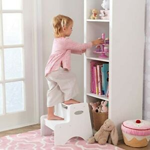 KidKraft Wooden Two-Step Children's Stool with Handles - White