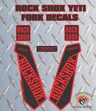ROCK SHOX YETI FORK Stickers Decals Graphics Mountain Bike Down Hill MTB RED BLK