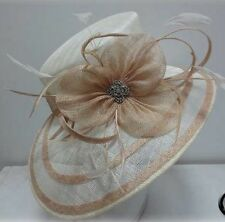 Ladies Ivory & Taupe Oblong Brim Hat,Races,Wedding,Equine,Show,Hat Making