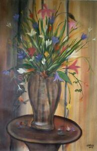 """ORIGINAL HAITIAN ART PAINTING BY FAMOUS CAREL BLAIN FLOWERS POT TABLE 24""""x36"""""""