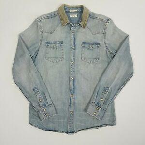 ALL SAINTS Mens Slim Fit Denim Shirt S Western Snap Corduroy Collar Heavyweight