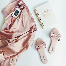 Size 9 Sadie-2 Cape Robbin Blush Pink Satin Bow Slides Mules Sandals Flats