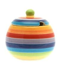 Rainbow Stripe Sugar Bowl and Lid Hand Painted 9 cm Diameter Shabby Chic New
