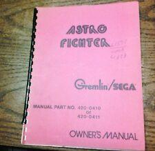 Gremlin/Sega ASTRO FIGHTER Arcade Video Game Manual - good used original