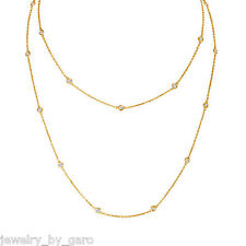1.04 CARAT DIAMOND BY THE YARD NECKLACE 36' INCH BEZEL SET 14K YELLOW GOLD