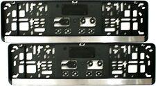 2x Kennzeichenhalter schwarz - Leiste CHROM - KURZ 46 cm Nummernschildhalter