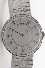 Vintage 1960s Longines 18j Diamond MYSTERY DIAL Mens 14k White Gold Watch 55g