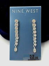 Nine West Clear Rhinestone Drop Dangle Earrings