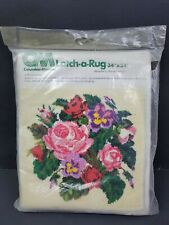 New listing Vintage 1977 Latch A Rug Victorian Roses Columbia Minerva 34 X 34 New Sealed