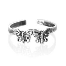 Silver Toe Ring Midi Half Finger Open Sizable Butterfly Butterflies 925 Sterling