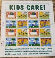 USPS Sc# 2951-4 KIDS CARE!  ENVIRONMENT 16, 32 cent stamp sheet. OG NH MINT 1995