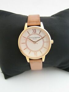 OLIVIA BURTON WATCH OB039 WOMENS ROSE GOLD STAINLESS STEEL LEATHER GENUINE