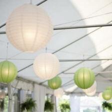 24x green white paper lanterns 24 LED lights wedding garden party venue decor