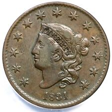 1831 N-7 ANACS VF 30 Lg Letters Matron or Coronet Head Large Cent Coin 1c
