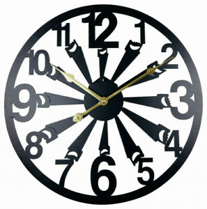 New Black Metal Saw Cut Out Wall Clock 40cm Unique Funky Designer Home Hotel