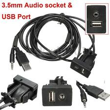 3.5mm AUX Extension Cable Lead Mounting Panel Car Boat Dash Flush Mount USB Port