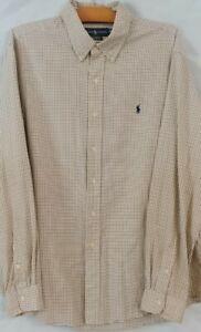 Mens Ralph Lauren Custom Fit Button Down Long Sleeve Shirt Cream Checks - XXL
